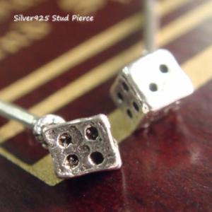 シルバーピアス レディース 2.5mm四方 小さい サイコロ ピアス スタッドピアス|laplateriashu