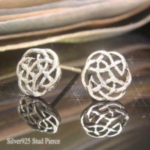 シルバーピアス レディース 薔薇の花弁 円形幾何学模様 イバラ模様 スタッドピアス|laplateriashu
