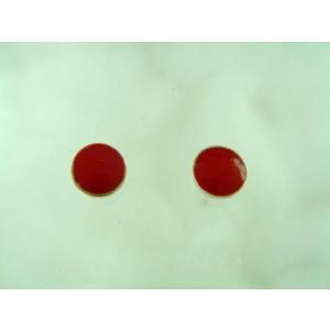 シルバーピアス 赤 レッド 5mm円形 落ち着いた 淡い 暗め スタッドピアス|laplateriashu