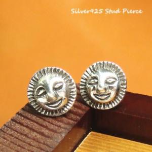 シルバーピアス レディース エスニック にっこり 笑顔 スマイル 太陽 スタッドピアス|laplateriashu
