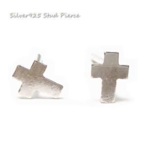 シルバーピアス レディース 平らなプレート クロス十字架のスタッドピアス 5×3.5mmタイプ|laplateriashu