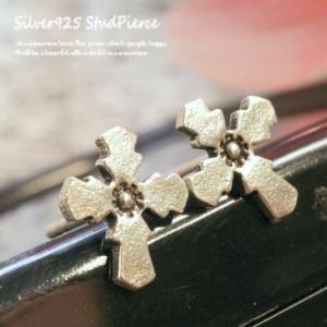 シルバーピアス レディース 丸みのあるギザギザ クロスのスタッドピアス 十字架スタッドピアス|laplateriashu