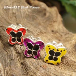 シルバーピアス レディース 丸いシルエットにビビッドカラーが可愛らしい蝶々のピアス|laplateriashu