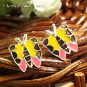 シルバーピアス レディース イエローとピンクが可愛らしい イラストみたいでカラフルな蝶々のピアス|laplateriashu