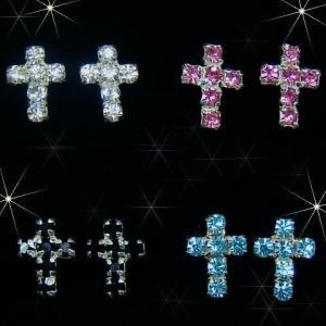 シルバーピアス レディース 6つのスワロフスキーで作ったキラキラの十字架クロスのピアス|laplateriashu