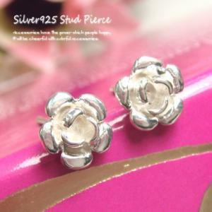 シルバーピアス レディース 直径7.5mmサイズのキレイな薔薇のスタッドピアス バラ ばら|laplateriashu