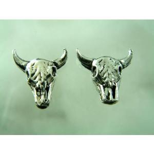 シルバーピアス レディース 牛の骸骨 ドクロピアス|laplateriashu