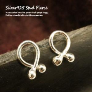 シルバーピアス レディース 丸玉 線 針 シャカ球が付いたリボンのような形のスタッドピアス|laplateriashu