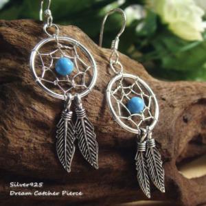 シルバーピアス レディース インディアンな2枚羽とトルコ石ビーズのドリームキャッチャーピアス |laplateriashu