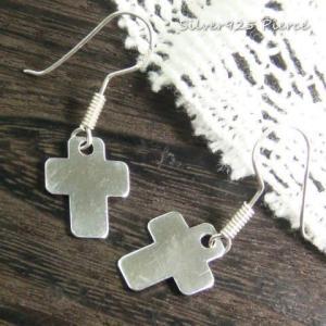 シルバーピアス レディース プレーンのプレートタイプ丸目のクロス十字架揺れサガリピアス |laplateriashu