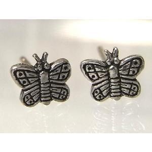 シルバーピアス レディース 虫 昆虫 ハネの模様が細かい蝶スタッドピアス|laplateriashu