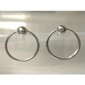 シルバーピアス レディース メンズ シンプル 丸玉 サークルに丸玉が付いたスタッドピアス|laplateriashu
