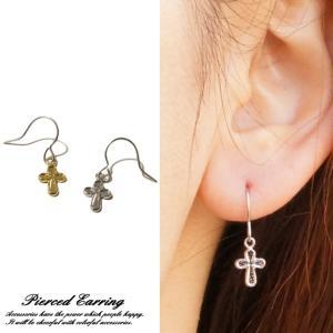 フックピアス クロス 十字架 可愛い キュート 小さめ レディースピアス|laplateriashu