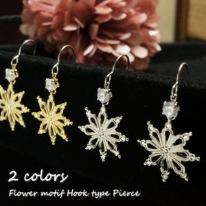 レディースピアス 8つの花びらを持つ花のような雪の結晶やエスニックな模様のような揺れサガリピアス サージカルステンレスピアス|laplateriashu