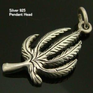 シルバー925☆ マリファナのペンダントヘッド 葉っぱの模様がリアルなマリファナの葉デザインのインディアン ペンダントヘッド  ペンダントトップ|laplateriashu