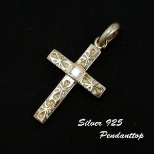 シルバー925 花柄に型取りされたジルコニア付シルバークロスペンダントトップ 十字架 silver925 シルバーアクセサリー シルバー製 ペンダントヘッド メンズ|laplateriashu