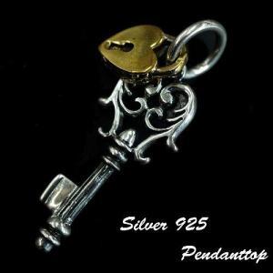 シルバー925 3色の錠が輝く2連キーモチーフペンダントトップ silver925 シルバーアクセサリー シルバー製 ペンダントヘッド メンズ|laplateriashu