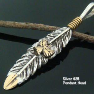羽 羽根 インディアン シルバー925 ペンダントトップ ペンダントヘッド フェザー4|laplateriashu