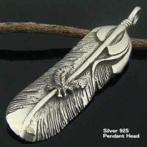 羽 羽根 インディアン シルバー925 ペンダントトップ ペンダントヘッド フェザー5|laplateriashu