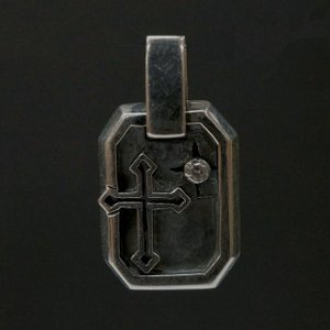 シルバー925 絵画のような枠の中にクロスとスワロが輝く プレート ペンダントヘッド silver925 シルバーアクセサリー シルバー製 クロス スワロフスキー メンズ|laplateriashu