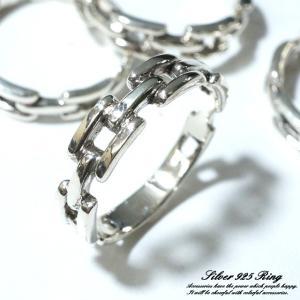 シルバー925 メンズ レディース リング チェーン 鎖 バックル あずきチェーンデザインの指輪|laplateriashu