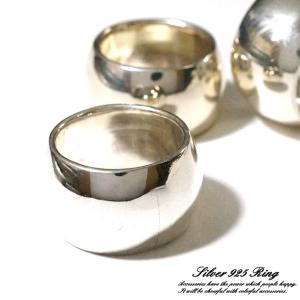 シルバー925 メンズ レディース リング シンプル ツヤっと輝くシンプルデザインの幅広指輪|laplateriashu