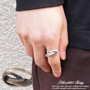 シルバーリング 指輪 ヘビ 蛇 スネーク 大蛇 とぐろ 爬虫類 鱗 メンズ レディース ユニセックス...