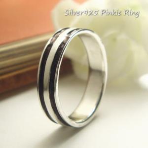 シルバーリング ピンキーリング 指輪 シンプルなシルバーに筋が入ったピンキィリング シルバー925 silver925 シルバーアクセサリー|laplateriashu