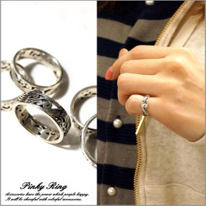 ピンキーリング シルバーリング メンズ レディース 指輪 波 ウェーブ ユニークデザインシルバー925 silver925 シルバーアクセサリー|laplateriashu