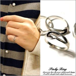 シルバー925 メンズ レディース 指輪 波 釣り針 カッコいいデザインのピンキーリング|laplateriashu