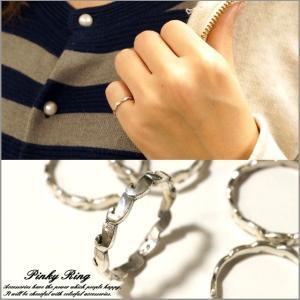 シルバー925 メンズ レディース 指輪 波 ウェーブ チェーン ユニークデザインピンキーリング|laplateriashu