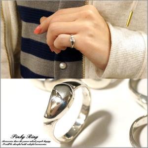 シルバー925 メンズ レディース 指輪 豆 ドロップ 雫のようなデザインのピンキーリング|laplateriashu