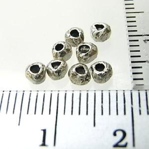シルバーバーツ 2-005 5個で1セット 直径3.1mmタイプで三角のような形の厚みのある極小丸型ビーズ|laplateriashu