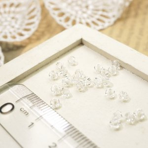多面カットビーズ そろばん型 直径3mm 透明 クリスタル ガラスビーズ チェコビーズ アクセサリーパーツ|laplateriashu