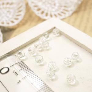 多面カットビーズ直径4mm 透明 クリスタル ガラスビーズ チェコビーズ アクセサリーパーツ