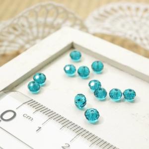 ボタンカットビーズ3x4.3mm エメラルドブルー 3gのグラム販売(約40個入り) ブルー系 青緑 ガラスビーズ チェコビーズ グラスビーズ アクセサリーパーツ|laplateriashu