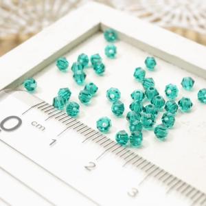 ガラスカットビーズ ソロバン直径3.5mm エメラルドブルー 3gのグラム販売(約90個入り) グリーン系 青緑系 ガラスビーズ そろばん型 アクセサリーパーツ|laplateriashu