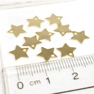 穴が中に型抜きされたスター ゴールド シルバー プレート 10個1セット アクセサリーパーツ|laplateriashu