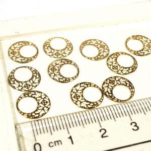 装飾が型抜かれたサークル ゴールド ピンクゴールド 10個1セット アクセサリーパーツ|laplateriashu