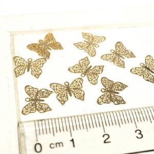 唐草模様 蝶々 プレート ゴールド シルバー 10個1セット アクセサリーパーツ|laplateriashu