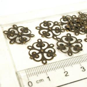 花型 透かしプレート アンティークゴールド 真鍮古美 10個1セット アクセサリーパーツ|laplateriashu