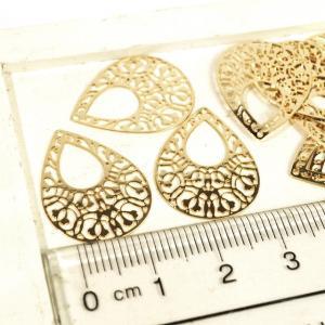 ドロップ型 ゴールド アンティークゴールド 真鍮古美 ガンメタ 10個1セット 透かしパーツ アクセサリーパーツ|laplateriashu