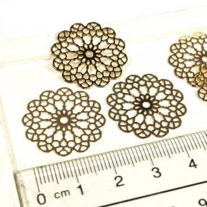 丸型 花型 透かしプレート ゴールド 10個1セット アクセサリーパーツ|laplateriashu