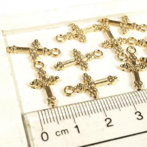 クロス 十字架 ゴールド 10個1セット アクセサリーパーツ|laplateriashu