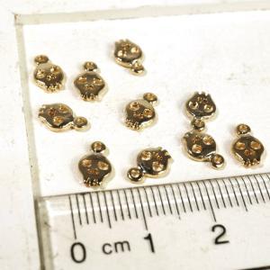 ドクロ 骸骨 可愛い ポップ ゴールド シルバー 10個1セット アクセサリーパーツ|laplateriashu