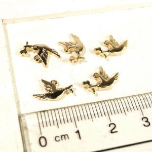 鳥 ゴールド アンティークゴールド 真鍮古美 5個1セット アクセサリーパーツ laplateriashu