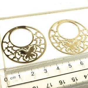 サークルの中に蝶がデザインされたプレート ゴールド 2個1セット アクセサリーパーツ|laplateriashu