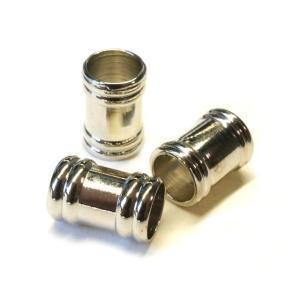 真鍮ビーズ ツヤ バレル 筒 シルバー 4.3gのグラム販売(10個入り) スタイリッシュ アクセサリーパーツ パーツ|laplateriashu