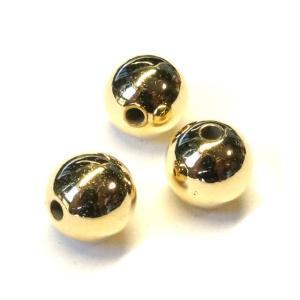 プラスチックビーズ ツヤ 球 丸玉 ゴールド 4.4gのグラム販売(約15個入り) エスニック アクセサリーパーツ パーツ|laplateriashu