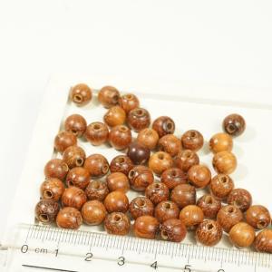 フィリピン製 ココナッツウッド ヤシの木 天然素材 丸玉 直径約8mm 約57個入り ブラウン ハンドメイドパーツ ウッドビーズ アクセサリーパーツ|laplateriashu